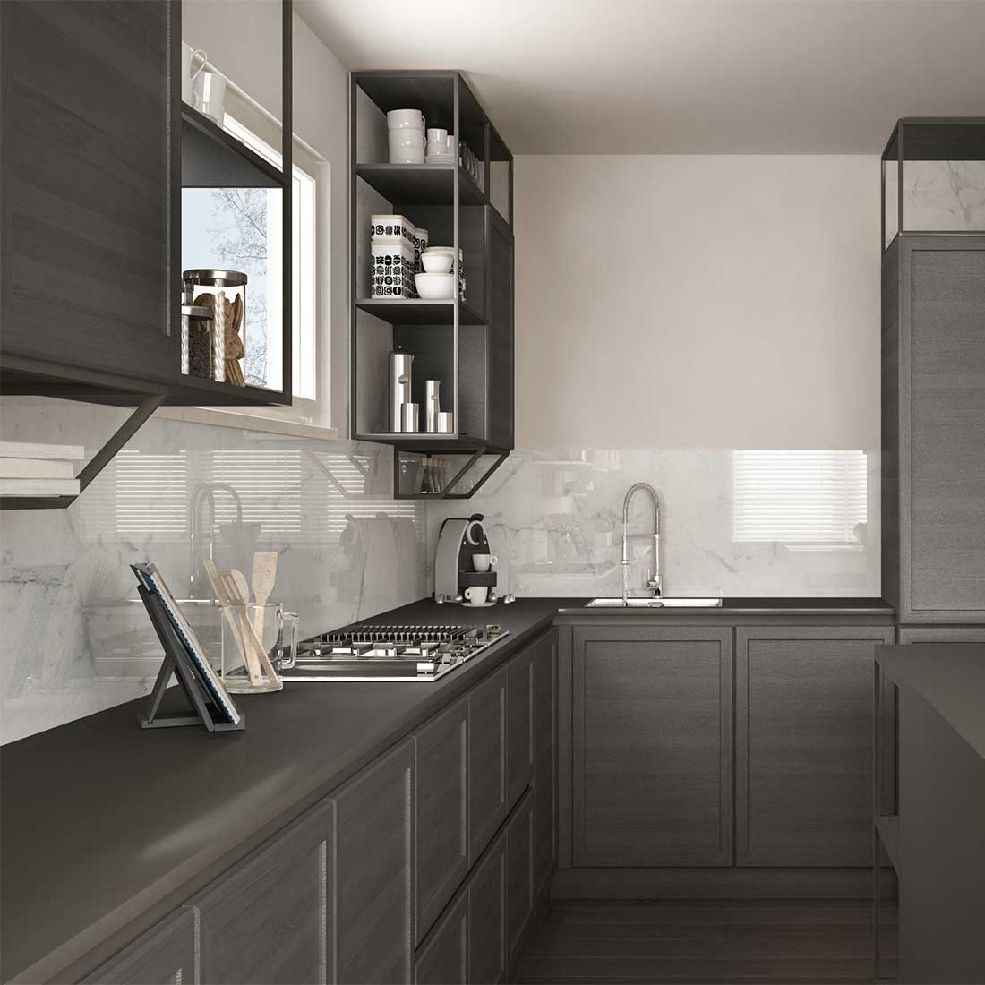 Кухня Лофт с белым фартуком