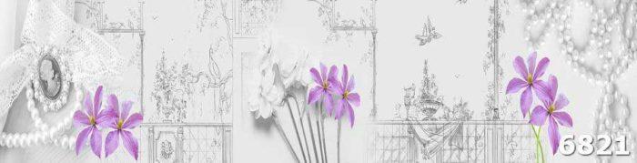 Кухонные скинали Цветы