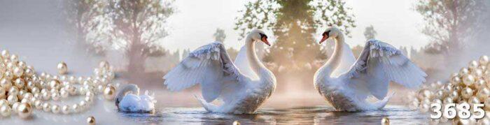 Фартук из стекла с лебедями