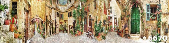 Кухонный фартук на стену старинная улочка