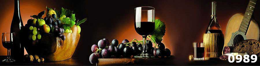 Фартук из закаленного стекла на кухню Вино и фрукты
