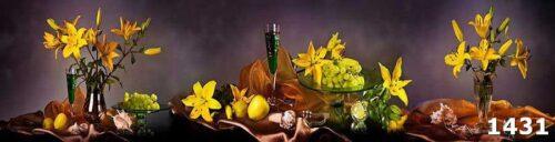 Защитное стекло на кухню Цветы и виноград