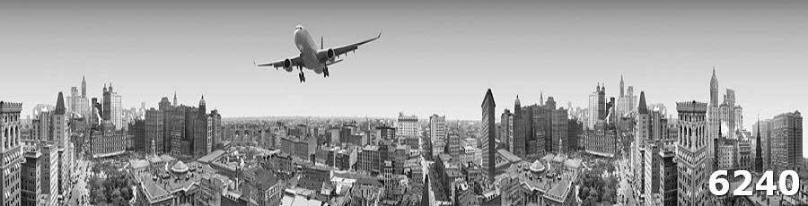 Глянцевый фартук для кухни Самолет над городом